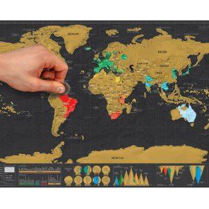 Скреч карта на света Делукс - световна карта за изтриване