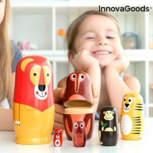 Дървени кукли матрьошки с животни InnovaGoods - 11 броя