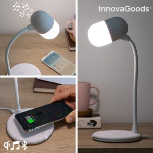 Нощна лампа с тонколона и безжично зарядно InnovaGoods Akalamp