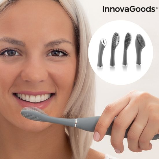 Силиконова електрическа четка за зъби и лице с различни приставки InnovaGoods Klinfor