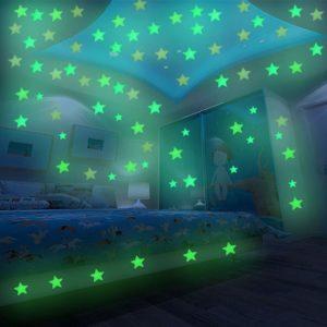 Фосфорицентни светещи звездички за таван и стени - 100 броя