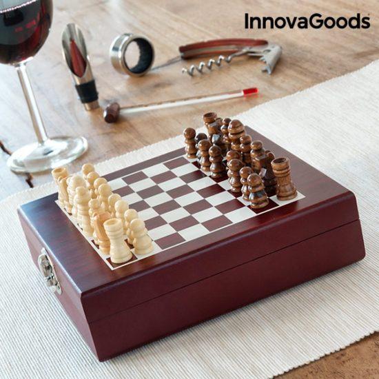 Дървен шах с луксозен сет за вино