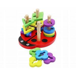 Детска дървена играчка за сортиране - пъзел калинка