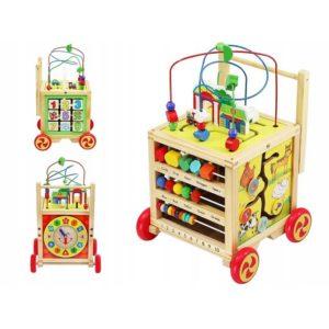 Детска дървена количка с образователни играчки