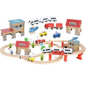 Детска дървена писта за влакчета и коли