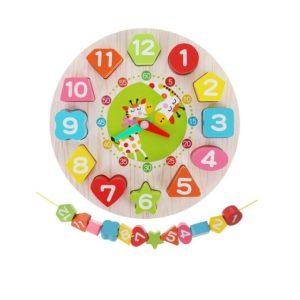 Детски дървен часовник за подреждане на часа