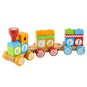 Детско дървено влакче с букви от азбуката