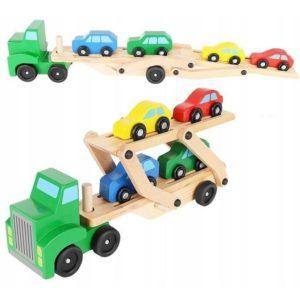 Дървен камион с ремарке за пренасяне на колички