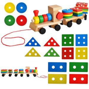 Образователна дървена играчка влакче