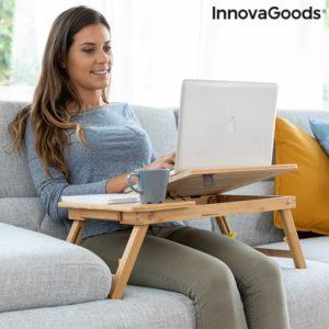 Помощна сгъваема масичка за лаптоп от бамбук InnovaGoods Lapwood
