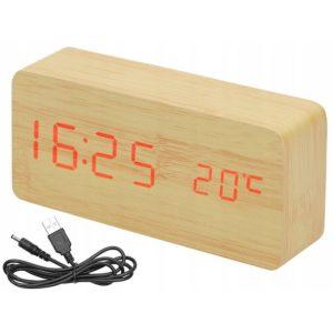 Дървен LED часовник с термометър