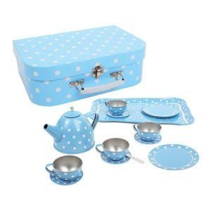 Детска играчка Комплект за чай - син на малки бели точици Bigjigs MTBJ614 1