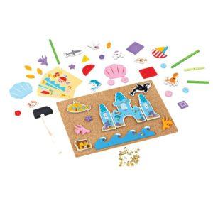Детска игра с коркова дъска и чукче Делукс Подводен свят Bigjigs MTBJ407 1