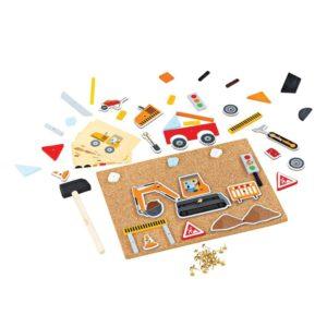 Детска игра с коркова дъска и чукче Делукс Строителна площадка Bigjigs MTBJ179 1
