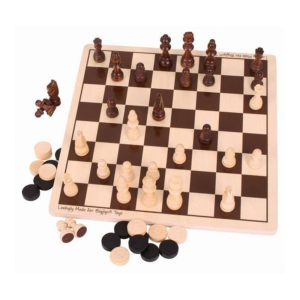 Детски дървен шах и табла Bigjigs 2 в 1 MTBJ789 1
