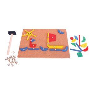 Детска дървена игра мозайка с чукче и пинчета Bigjigs MTBJ158 1