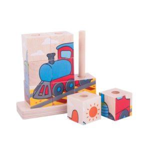 Детски дървени кубчета за нанизване Превозни средства Bigjigs MTBB105 1