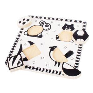 Детски дървен пъзел Черно бели домашни любимци Bigjigs MTBJ515 1