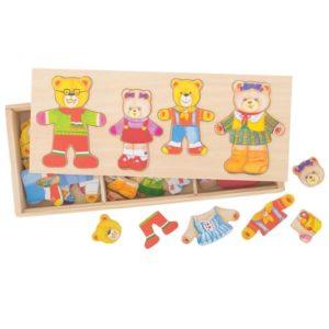 Детски дървен пъзел за обличане Семейство мечета Bigjigs MTBJ766 1