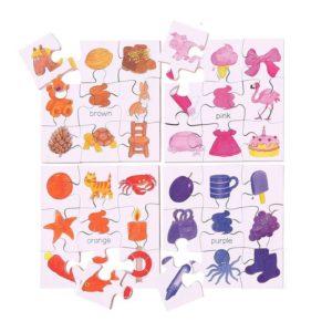 Детски комплект 4 дървени пъзела Цветове 2 Bigjigs MTBJ081 1