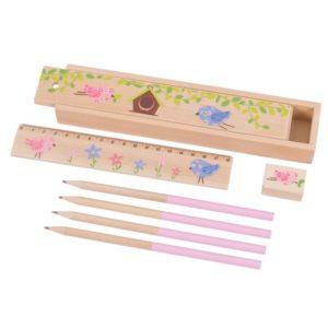 Дървен комплект с моливи, линия и острилка 2 варианта Bigjigs MTBJ233 1