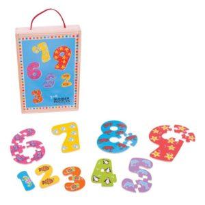 Комплект детски дървени пъзели Числата от 1 до 9 Bigjigs MTBJ507 1