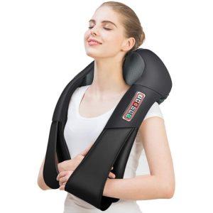 4D шиацу масажор за врат и гръб с ръкохватки Black Edition - с 6 бутона и 16 масажни глави
